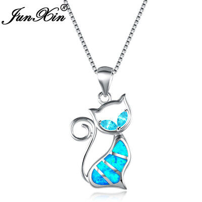 Exquisite Kitty Cat 925 Silver Blue Fire Opal Pendant Necklace Wedding Jewelry