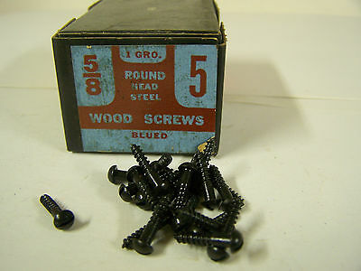 """#5 x 5/8"""" Round Head Blued Wood Screws Slotted Vintage Made in USA Qty 125"""