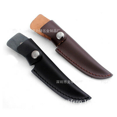 Straight PU Leather Sheath Scabbard Case Bag For Fixed Blade Knife