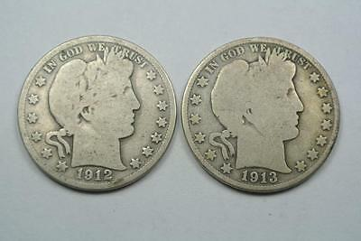 1912-S & 1913-S Barber Half Dollar Coins, Good Condition - C3803