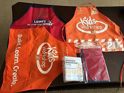 Home Depot Kids Workshop Apron Lot of 2 and lowe's lot of 2 aprons + Birdhouse