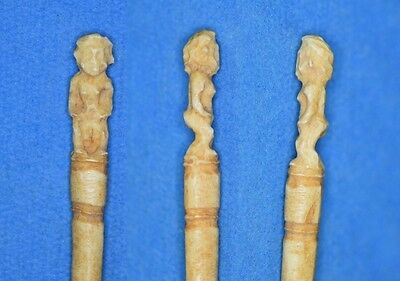 Ancient Egyptian Late 1 Millennium BC Bone PIN with supposedly BESS, Egypt.