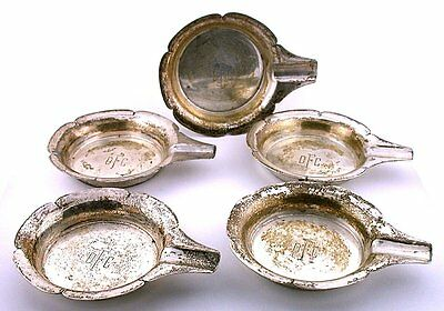 FIVE 3 2/3 x 1/2 INCH ENGRAVED DFC PURE SOLID .925 STERLING SILVER ASHTRAY AS62