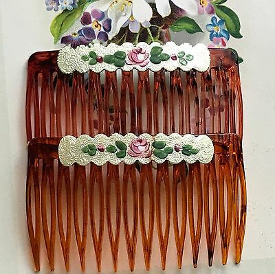 Vintage Guilloche Combs, Hair Slides,Set, enamel Combs,Hand Painted,Floral  G39B
