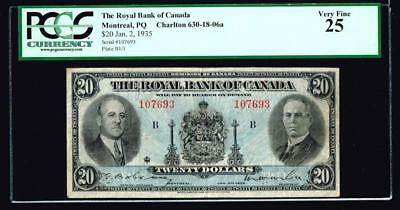 Montreal, PQ- Royal Bank of Canada $20 Jan. 2, 1935 Ch. # 630-18-06a PCGS VF25