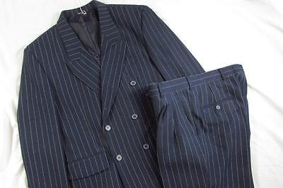 Vtg 70s Squire 2 Pc Double Breasted Pinstripe Suit Jacket Pants Poly Gangster