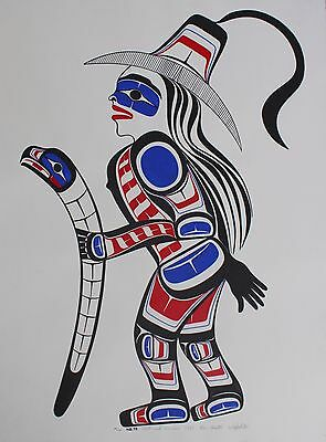 Ben Houstie Original Acrylic Painting On Paper Hand Signed Native Warrior 1993