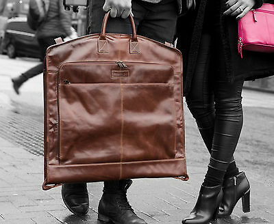 Milano Luxury Brown Leather Suit Carrier Leather Garment Bag Travel Bag NEW
