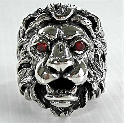Heavy King Garnet Lion Head Leo Big 925 Sterling Silver Ring New Mens Biker Rock