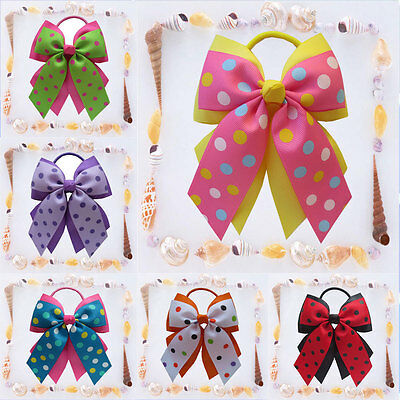 """14 BLESSING Happy Girl Hair Accessories 4.5"""" A- Double Cheer Leader Bow Elastic"""
