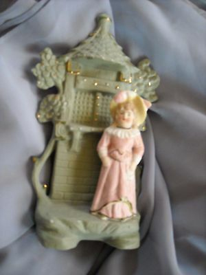 vintage old wall pocket  Antique decoration figure girl doll victorian look