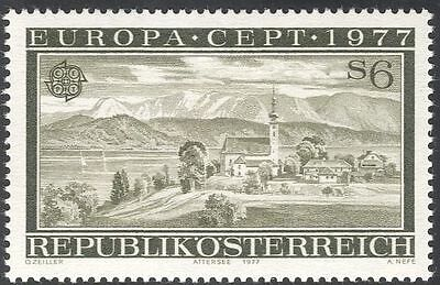 Austria 1977 Europa/Attersee/Lake/Church/Bell Tower/Clock/Buildings 1v (n43055)