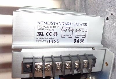 Used ACME STANDARD SPS-12012 DC 12 Volt POWER SUPPLY