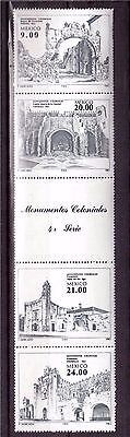 MEXICO 1983 #1341a STRIP OF 4 MINT NH, COLONIAL MONUMENTS !!