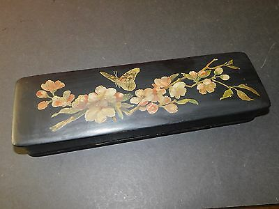 Black Lacquer Glove Box Red Interior Flower & Butterfly Design