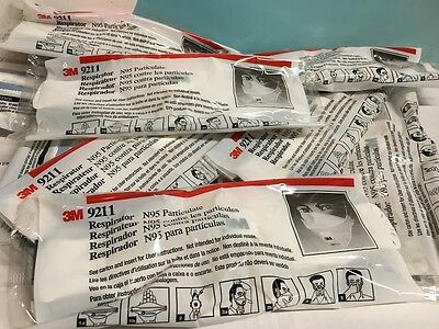 3M 9211 N95 Particulate Respirator Cool Flow Valve Stapled Flat Lot of 10 Masks