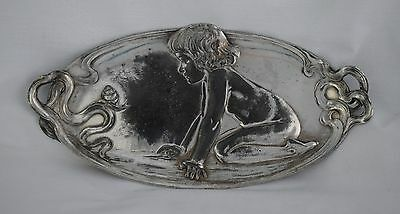 Art Nouveau WMF Silver Plated Card Tray Kneeling Child & Snail 210 c.1905