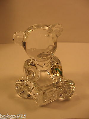 Waterford Bear AB Solid Glass Teddy with Alphabet Block Figurine / Paperweight