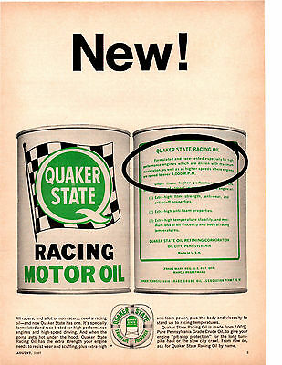 1967 Quaker State Racing Motor Oil ~ Original Print Ad