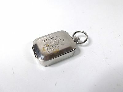 vintage lovely small chrome pill box seal box fob watch chain box