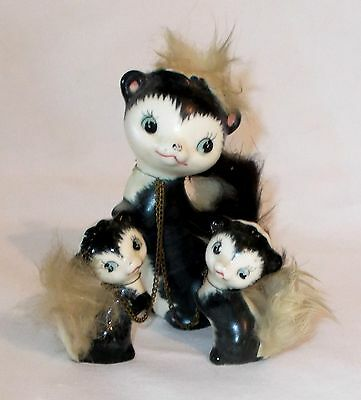 Mother Skunk and Babies on Chains Figurines