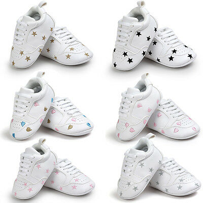 Infant Newborn Baby Boy Girl Soft Sole Shoes Prewalker Leather Sneakers Trainers