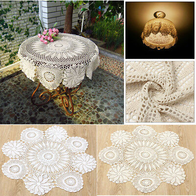 28'' Beige/White Hand Crochet Cloth Cotton Yarn Round Lace Doily Placemat Table