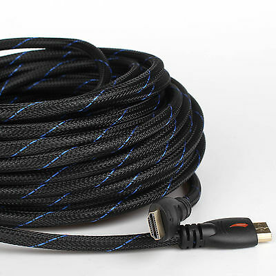 30FT Braided Ultra HD HDMI Cable 1080p@60Hz High Speed+ Ethernet HDTV 4K 3D GOLD
