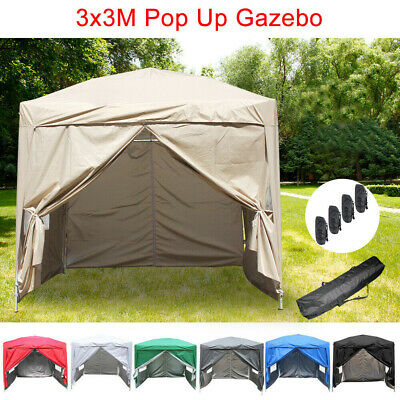 3x3m Pop Up Gazebo Outdoor Garden Marquee Party Tent 2 Windbars 4 Leg Weight Bag