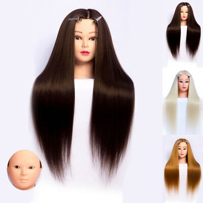 """24"""" Head Human Hair Training Head Doll Mannequin Hairdressing Practice Hairdres"""