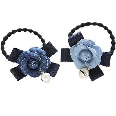 Women Fashion Elastic Pearl Bow Hair Band Headband Women Ponytail Holder