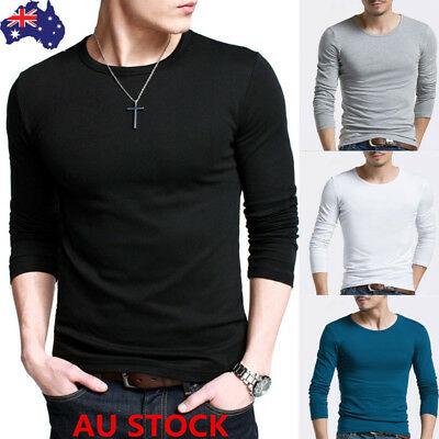0a499e3958c Fashion Men s Slim Fit Long Sleeve Shirt Solid T-shirt Round Neck Tee  Casual Top