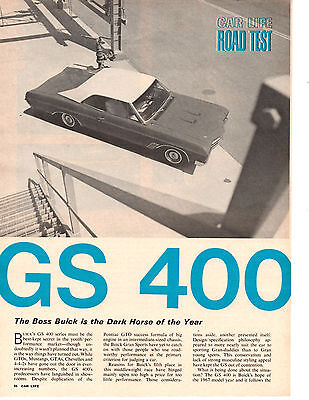 1967 Buick Gs 400/340 Hp ~ Original 6-Page Road Test / Article / Ad
