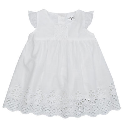 Baby Girls White Dress Christening Wedding Broderie Anglaise Flower Girl Outfit