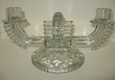Art Deco Clear Glass Candle Holder 2-Arm Candle Stick