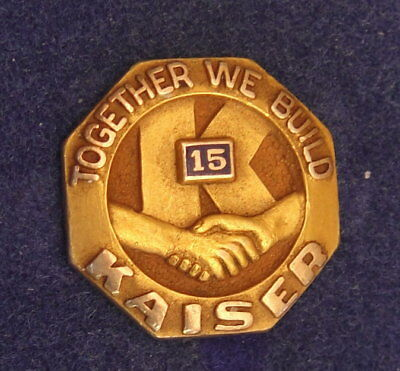 Vint 14K Gold Service Pin: KAISER MOTORS: Together We Build; Auto/Steel Mfg