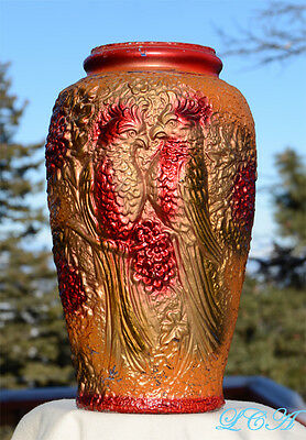 Exquisite LARGE antique GOOFUS GLASS hand blown PICKLE JAR vase COCKATIEL