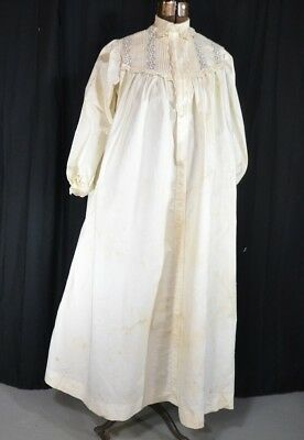 nightgown long Victorian white lace lingerie Civil War Era antique  1800