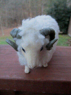 "Horned Ram Standing Figure-White Fleece Look No Marking Unique Look 7"" Long"