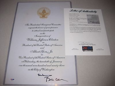 BILL CLINTON President SIGNED Autograph Inauguration Invite Photo PSA/DNA COA