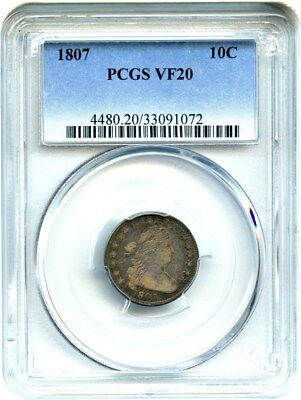 1807 10c PCGS VF20 - Scarce Type Coin - Bust Dime - Scarce Type Coin