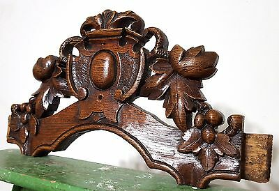 CARVED WOOD PEDIMENT ANTIQUE FRENCH COUNTRY FARMHOUSE SALVAGED CARVING 19th c