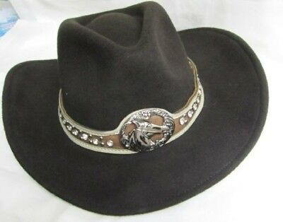 Western Cowgirl Hat Felt Montana West - SMALL  New Brown w/Running Horse 9019