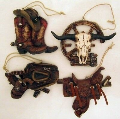 Western Hat, Boots, Saddle, Horns, Gun Christmas Ornaments - Set of 4 - (7126)