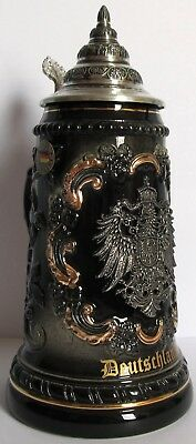 Black Deutschland Germany with Pewter Eagle LE German Beer Stein .5L Oktoberfest
