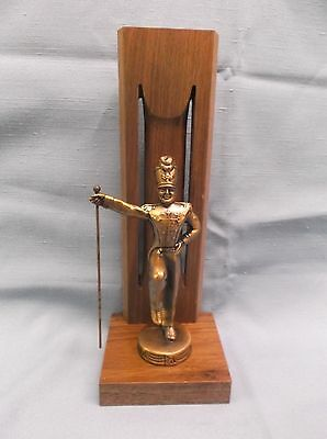 solid walnut backdrop award trophy cast metal bronze male  band major