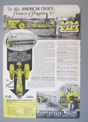 Orig 1937 Minneapolis Moline Universal Z Tractor Ad THE ALL AMERICAN CHOICE