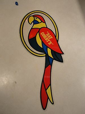 Vintage Corby's Whiskey Sign Hanging  Stain Glass Parrot ,window Decor