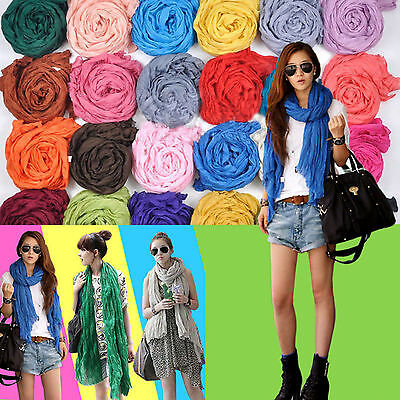 Womens Girls Candy Color Long Soft Chiffon Neck Scarf Wrap Shawl Stole Scarves