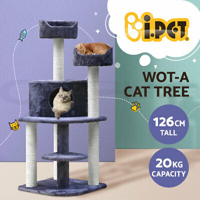 126cm Cat Tree Scratching Post Scratcher Pole Condo Gym Toy Furniture Multilevel